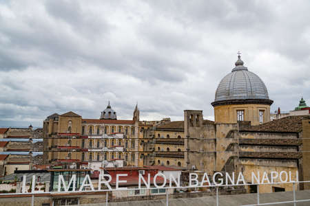 Italy. UNESCO World Historic Site World Heritage Site seen from Saint Elmo Castle. There are cupolas of some churches located along the street courts incl. the facade of Naples Cathedral Publikacyjne