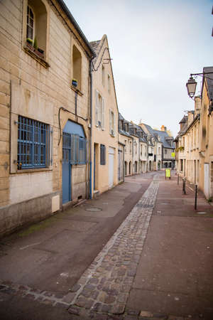 A picturesque street in the Medieval village of Bayeux France in the Normandy Region
