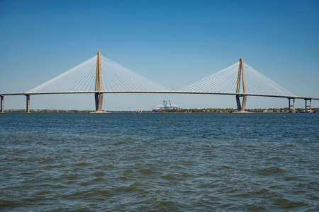 The Ravenel Bridge, as seen from the water, that connects Charleston, SC to Mount Pleasant, SC.