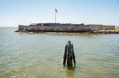 View from the boat of Fort Sumter National Monument in Charleston SC. USA