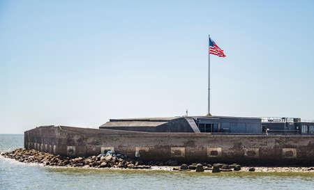 Blick vom Boot auf das Fort Sumter National Monument in Charleston SC. Vereinigte Staaten von Amerika