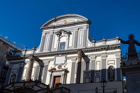 Facade of Basilica of San Paolo Maggiore, one of the most famous church in Naples, Italy 스톡 콘텐츠