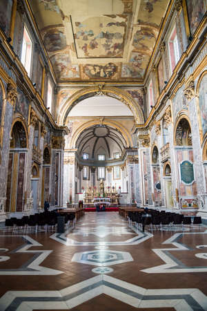 Interior of Basilica of San Paolo Maggiore, one of the most famous church in Naples, Italy