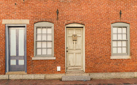 Door and windows at the Red Brick Town House in Portsmouth NH. USA