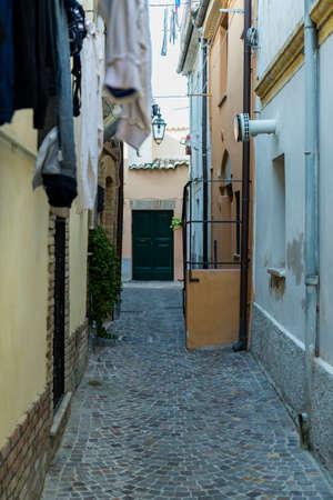 Narrow street of the city of Lanciano in Abruzzo, Italy