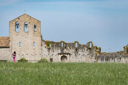 Abbey of the Most Holy Trinity in Venosa. View of unfinished church called Incompiuta. Basilicata region, Italy Stock Photo