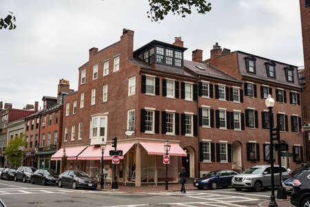 BOSTON - OCTOBER 28, 2018: nice district, residential area in dowtown Boston, Massachusetts USA Editorial
