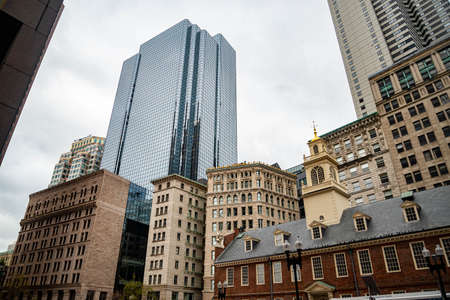 BOSTON, MA - OCTOBER 28, 2018: skyscrapers buildings in downtown Boston, Massachusetts.