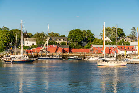 View with boats of the Coastal town of Belfast in Maine, USA Stock Photo