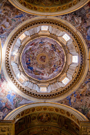 Indoor detail of the dome in Duomo church in Naples, Italy