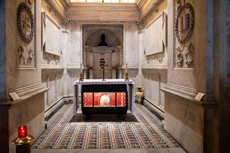 The Saint spoils in the crypt of Saint Genaire in Naples, Italy Editorial