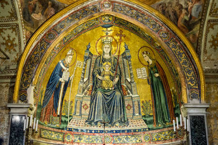 Mosaic of Basilica of Santa Restituta in Cathedral Duomo di San Gennaro (or Cathedral of the Assumption of Mary), Naples, Italy