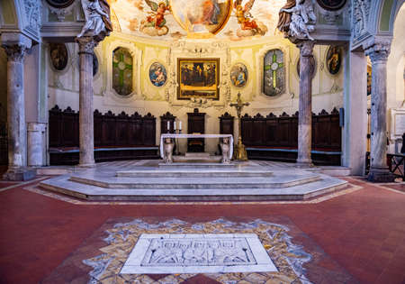 Interior of Naples Cathedral Duomo di San Gennaro or Cathedral of the Assumption of Mary , Naples Italy