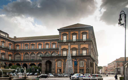NAPLES, ITALY - DECEMBER 22, 2019: View of Palazzo Reale from Piazza Trieste and Trento, Naples, Italy