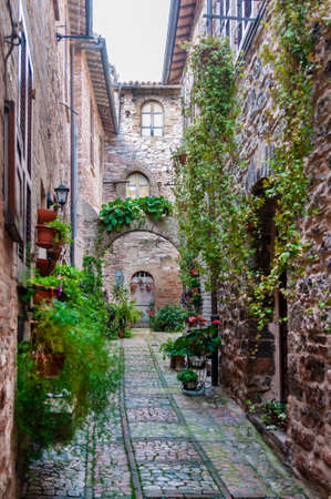 Narrow street in the small town of Spello, Umbria region, Italy