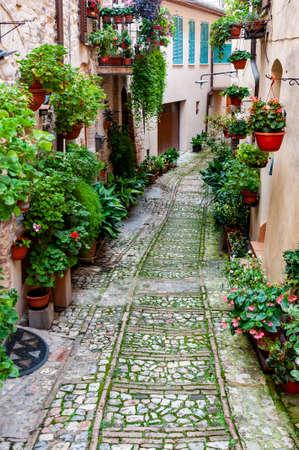 Calle angosta en la pequeña ciudad de Spello, región de Umbría, Italia