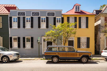 Historical downtown colored buildings in Charleston, South Carolina, USA