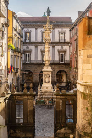 Obelisk of San Gennaro, monumental column in the historic center of the city of Naples, Italy Stock Photo