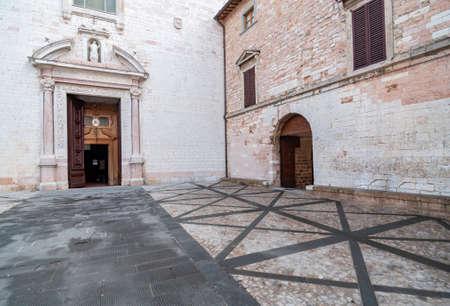 exterior of the churche of st. Maria Maggiore in the small village of Spello, Umbria Italy Stock Photo