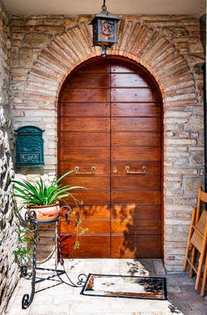 Close-up Image Of Wooden Ancient Italian Door, Umbria Stock Photo