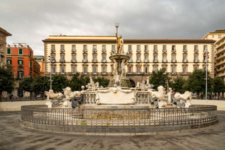 View of the Neptune fountain at Municipio square in Napoli, Italy Archivio Fotografico