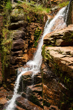 Flume gorge in the fall time in Franconia Notch State Park, New Hampshire, USA Stock Photo
