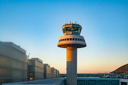 The control tower of El Prat-Barcelona airport, Spain. This airport was inaugurated in 1963.