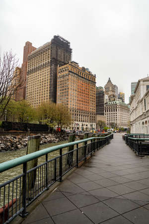 The pedestrian path on Battery Park in New York City, USA