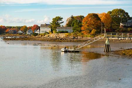 Panoramic view of Camp Ellis during the fall, Maine Usa 版權商用圖片