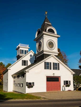 New England clock house in Kennebunk Maine, USA
