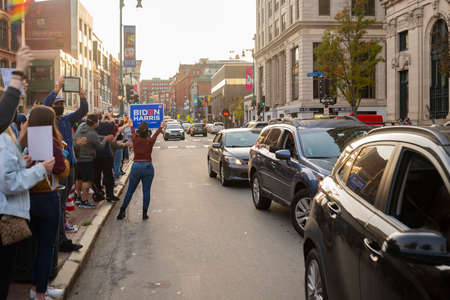 PORTLAND, MAINE, USA - 07 NOVEMBER, 2020: Mainers celebrate Joe Biden's victory of the 2020 United States presidential election in downtown Portland Maine.