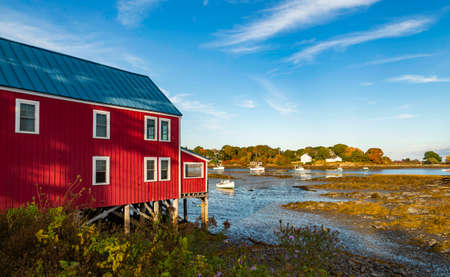 View of the houses in Cape Porpoise, Maine USA
