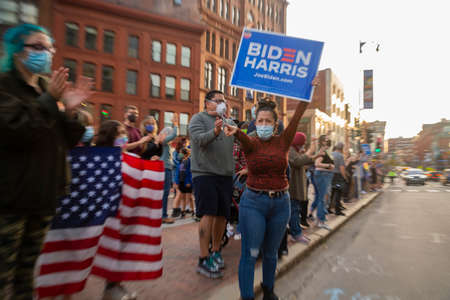 Mainers celebrate Joe Bidens victory of the 2020 United States presidential election In downtown Portland