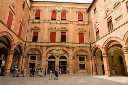 Inside court in Palazzo Comunale, City Hall in Bologna, Italy