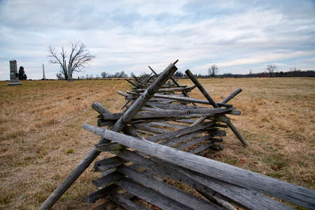 A view of the American Civil War battlefield in Gettysburg, Stock Photo