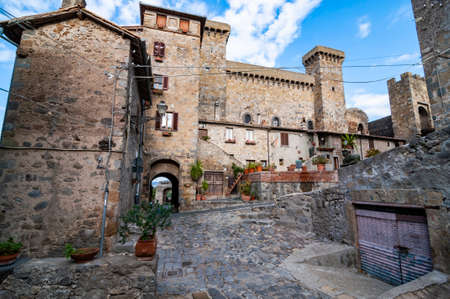 historic buildings inthe small village of Bolsena, Italy
