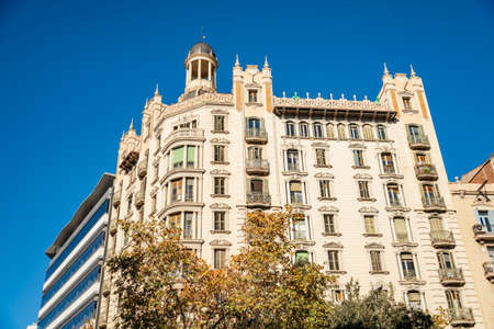 BARCELONA, SPAIN- DECEMBER 19, 2018: Old styled Building in downtown Barcelona, on December 19, 2018 in Barcelona Spain