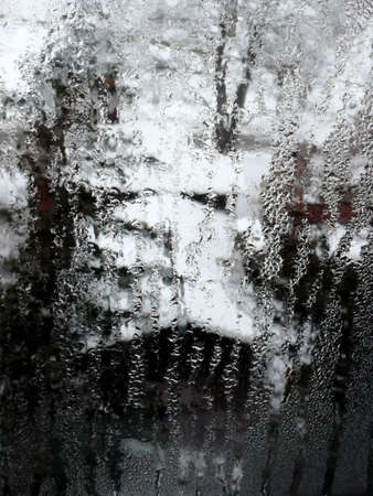 a view through a window in winter; picture taken in Ontario, Canada, in early march Stock Photo