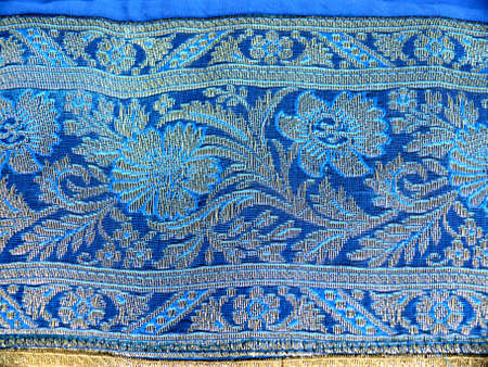 embroidered: detail of embroidered indian cloth Stock Photo