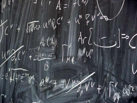 formulae: computations on a blackboard Stock Photo