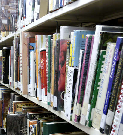 books on a shelf in a public library Stock Photo