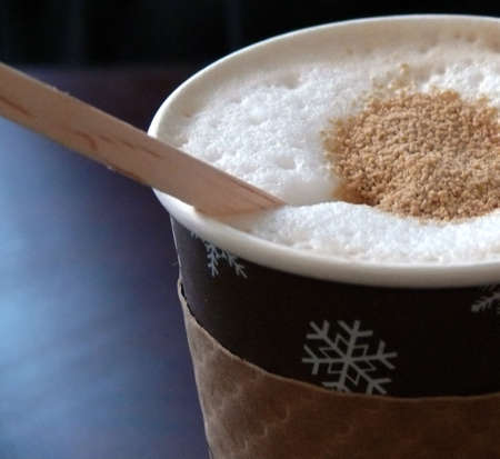 close-up on a cup of hot cappuccino Stock Photo