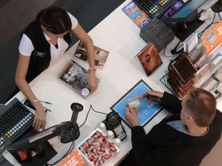 customer at the counter in a bookstore Stock Photo