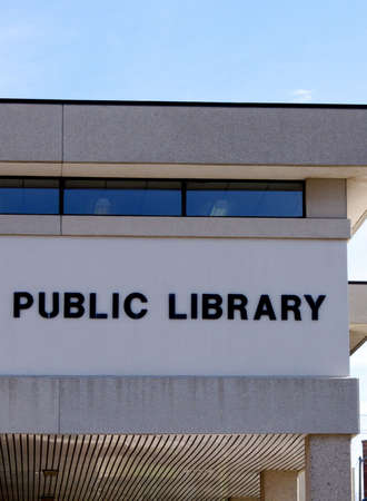 public library building in a small town photo