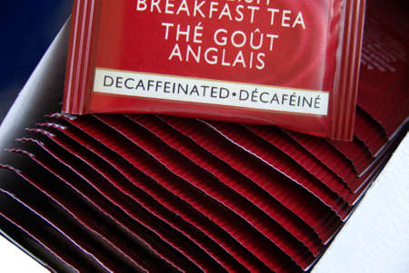 close-up on a box of teabags, decaffeinated tea