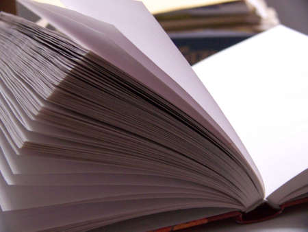 close-up on the pages of a journal on a desk Stock Photo