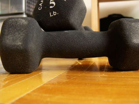 two 5 lbs dumbbells on a hard wood floor in a bedroom