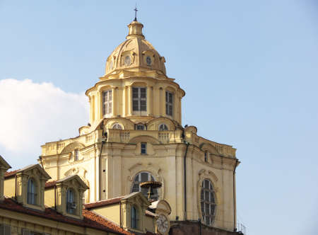 the cupola of the church of san lorenzo, one of the landmarks of torino, italy Stock Photo