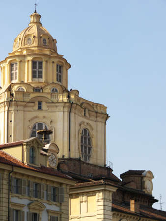 the cupola of the church of san lorenzo, one of the landmarks of torino, italy photo