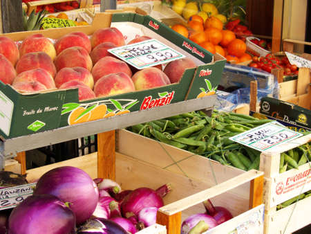 fruits and vegetables for sale in a market in italy Stock Photo
